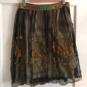 Free People embroidered tulle skirt